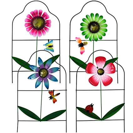 Exceptionnel Gift Boutique Decorative Painted Metal Garden Fence 4 Pack Flower Design  Border Edge Gate For Yard