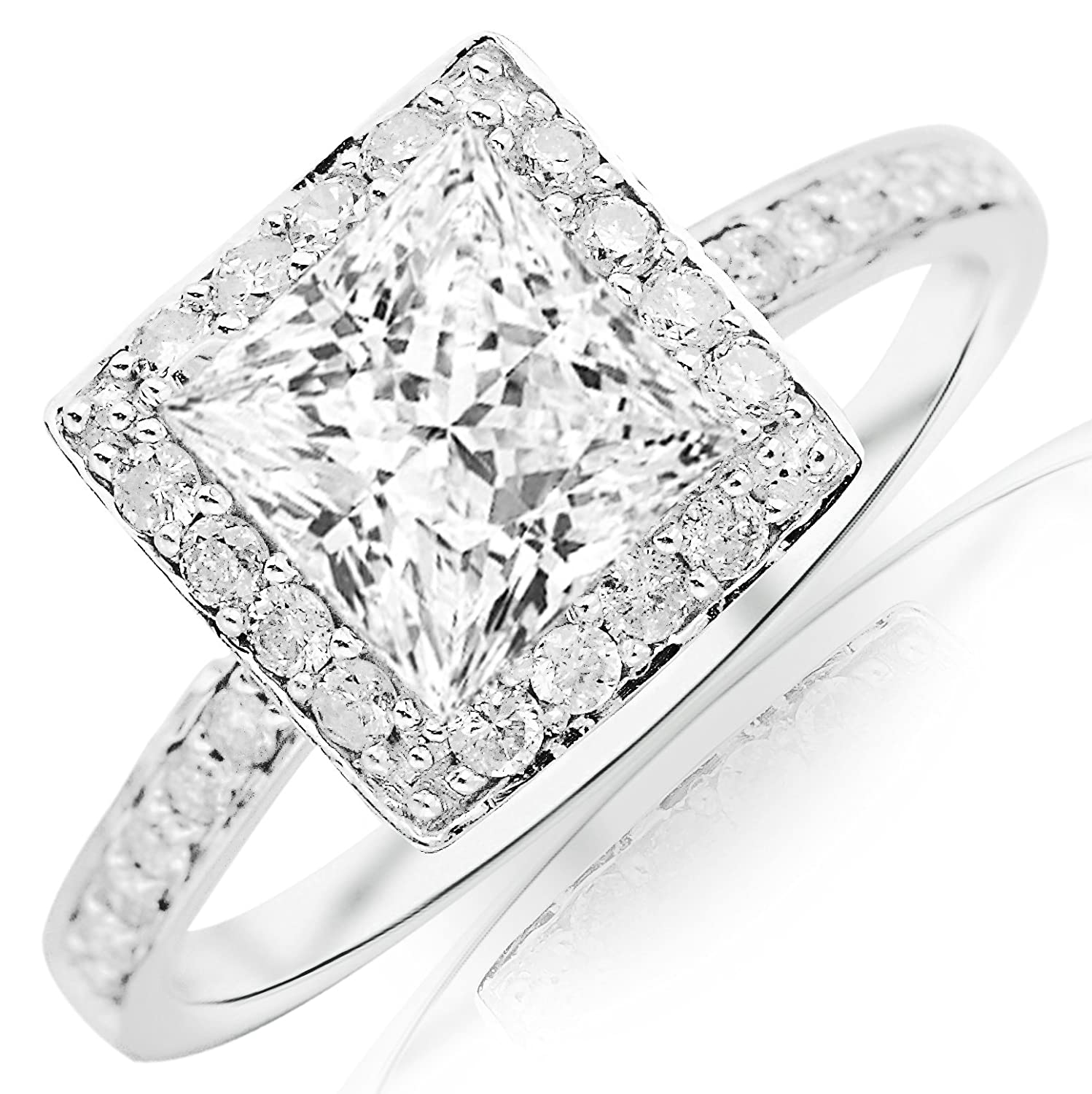 bezel accent white square halo rings set diamond gold engagement accen front ring