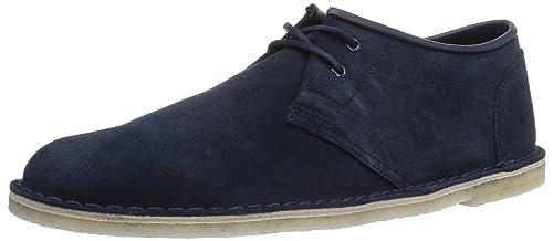 Clarks Jink - zapatos con cordones de cuero hombre, Azul (Navy Suede), 44.5