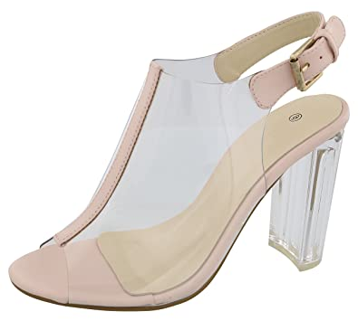 115bf78dae5 Amazon.com  Cambridge Select Women s Peep Toe Clear See Through Slingback  Buckled Chunky Lucite Heel Ankle Bootie  Shoes