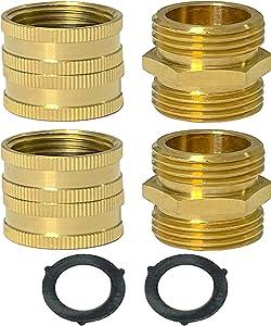 Garden Hose Adapter | Garden Hose Connectors | Male to Male Hose Adapter | Female to Female Hose Adapter | Garden Hose Fittings 3/4 Inch Brass Connector | 4-Pack | 2 Extra Washers