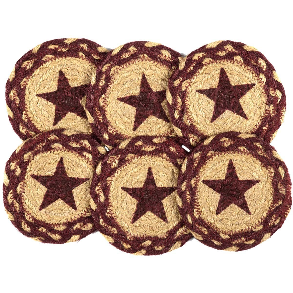 VHC Brands Burgundy Tan Jute Coaster Stencil Star Set of 6