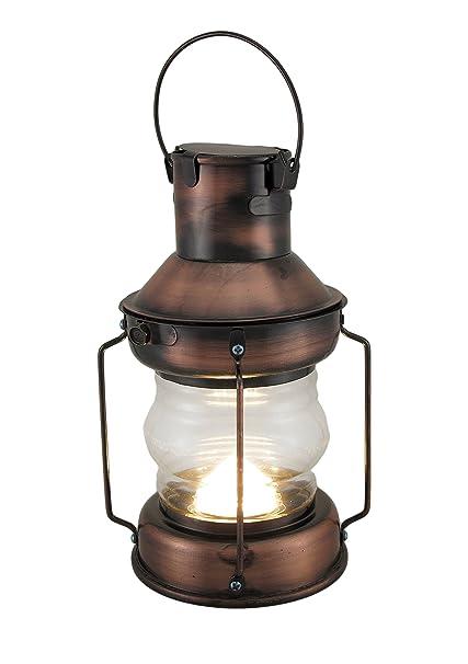 Zeckos Metal Glass Decorative Candle Lanterns Rustic Battery Operated Antique Copper Finish Lantern 5