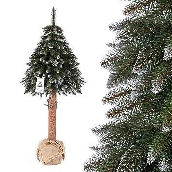 Künstlich Weihnachtsbaum.Fairytrees Künstlicher Weihnachtsbaum Im Topf Fichte Naturstamm Weiss Beschneit Material Pvc Baumstamm Aus Echtem Holz 180cm Ft19 180
