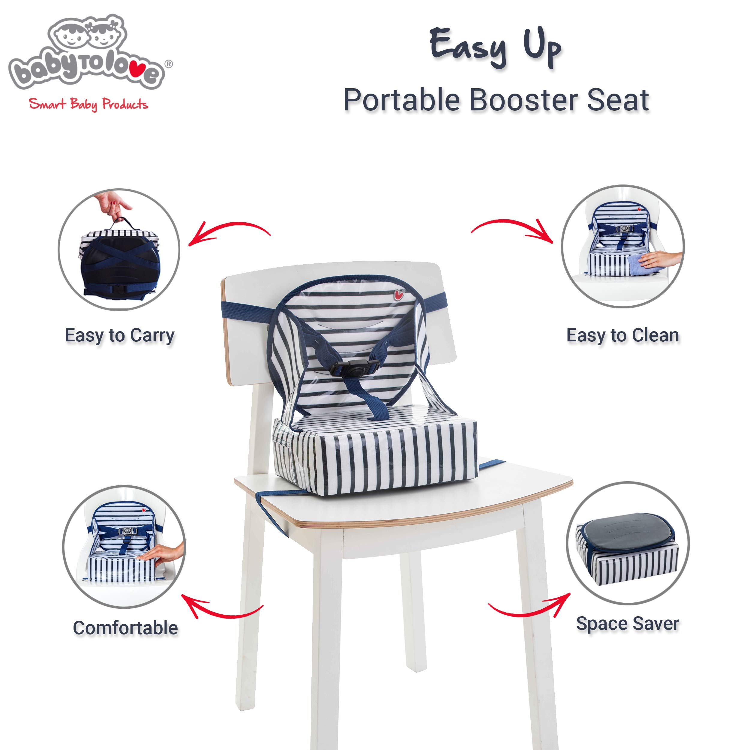 Baby-To-Love Easy Up, Portable Travel Booster Seat Dining Toddler, Boy & Girl (Blue Stripes)
