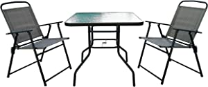 Homewell Outdoor Dining Set Furniture for Patio, Back Yard, Deck, Bistro (Grey) (Table + 2 Chairs)