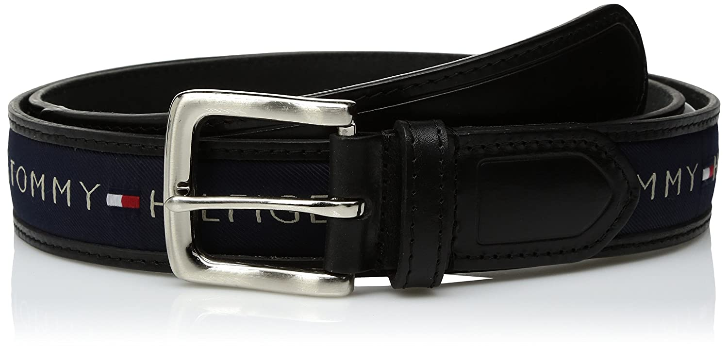 001bc4d5ea57db Tommy Hilfiger Men s Ribbon Inlay Belt - Ribbon Fabric Design with Single  Prong Buckle at Amazon Men s Clothing store  Apparel Belts