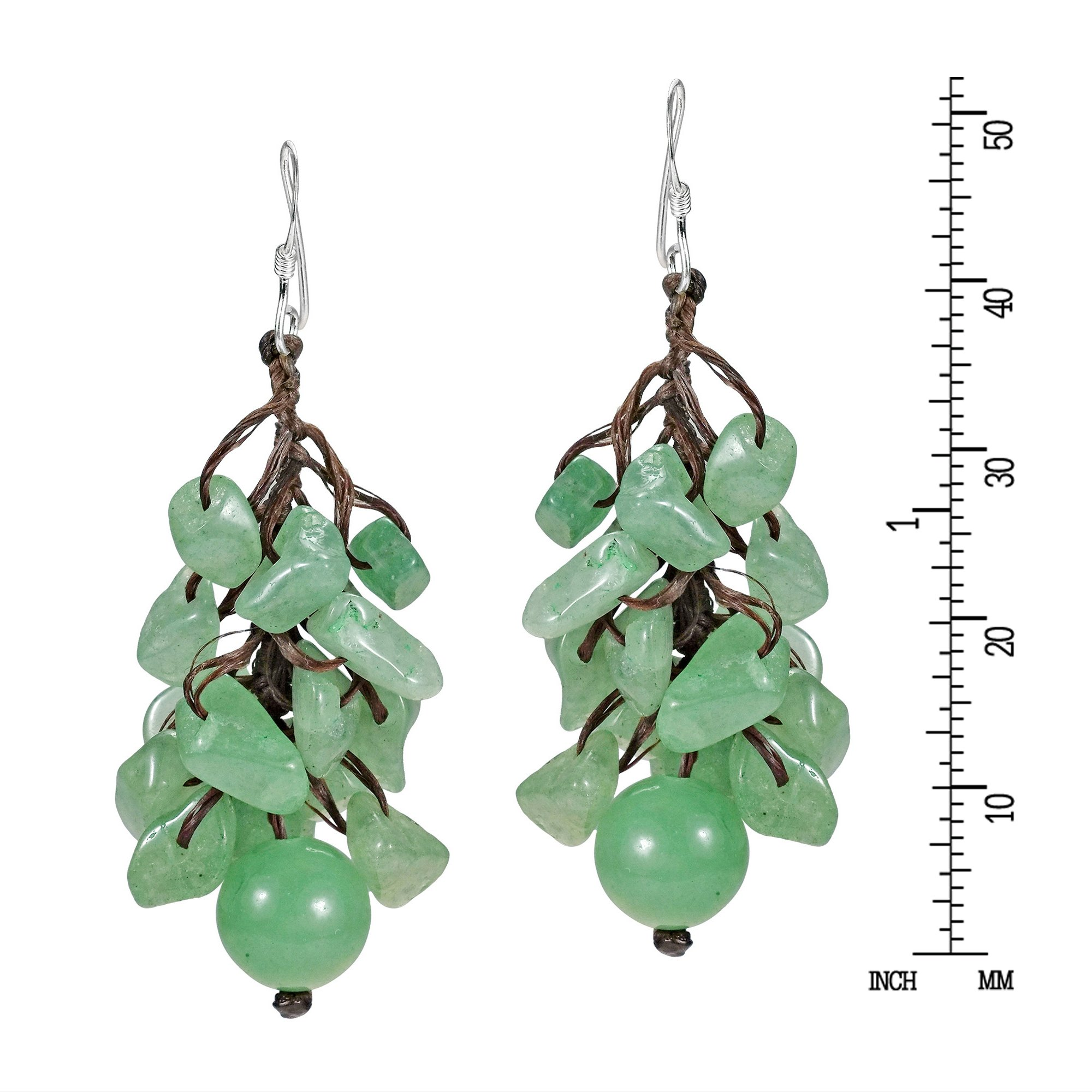 Dangle Cluster Ball Simulated Aventurine Sterling Silver Earrings by AeraVida (Image #3)