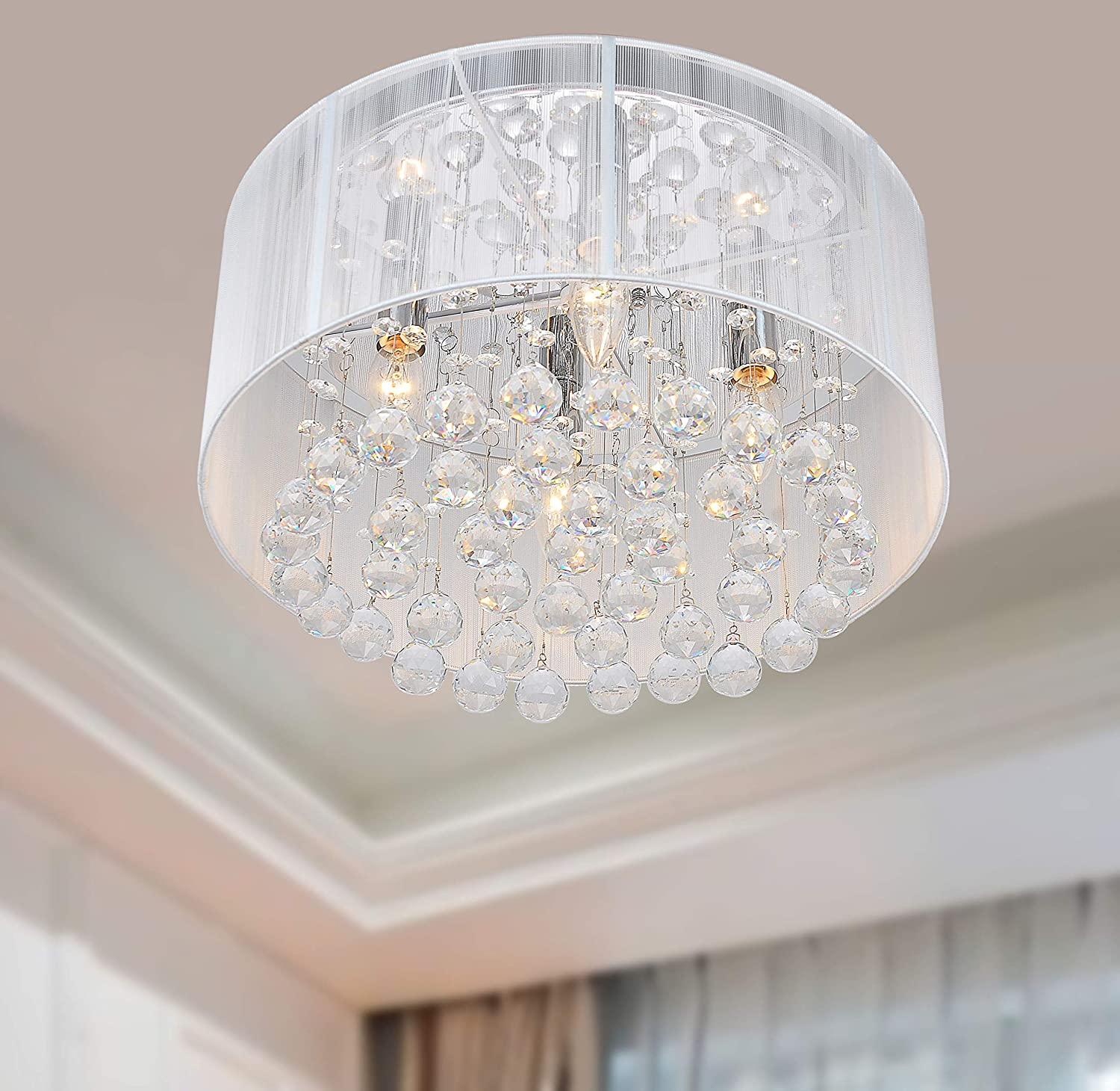 Flushmount 4 Light Chrome And White Crystal Chandelier For Chandeler Com