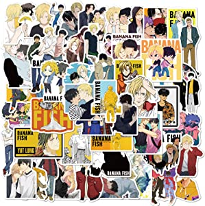 Unilife Banana Fish Stickers 100PCS Cartoon Anime Waterproof Vinyl Stickers for Laptop Luggage Skateboard Water Bottle Guitar Kids Teens Adults Party Supplies Decoration