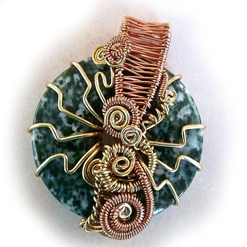 Two Agate Woven Copper Pendant