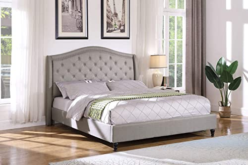 Best Master Furniture Sophie Upholstered Tufted Platform Bed, Grey King