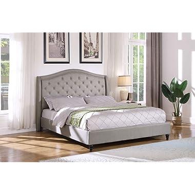Best Master Furniture YY131 Sophie Upholstered Tufted Platform Bed, Grey Cal King California
