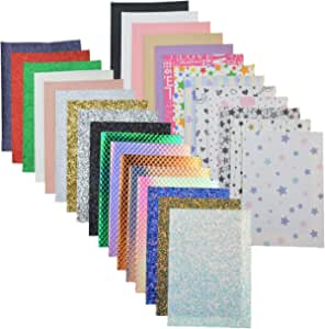 (Mix Color-4) - 30 Pieces 5 Style Faux Leather Sheet for Making Earrings, Bow Tie, and DIY Sewing Craft(16cm x 21cm )