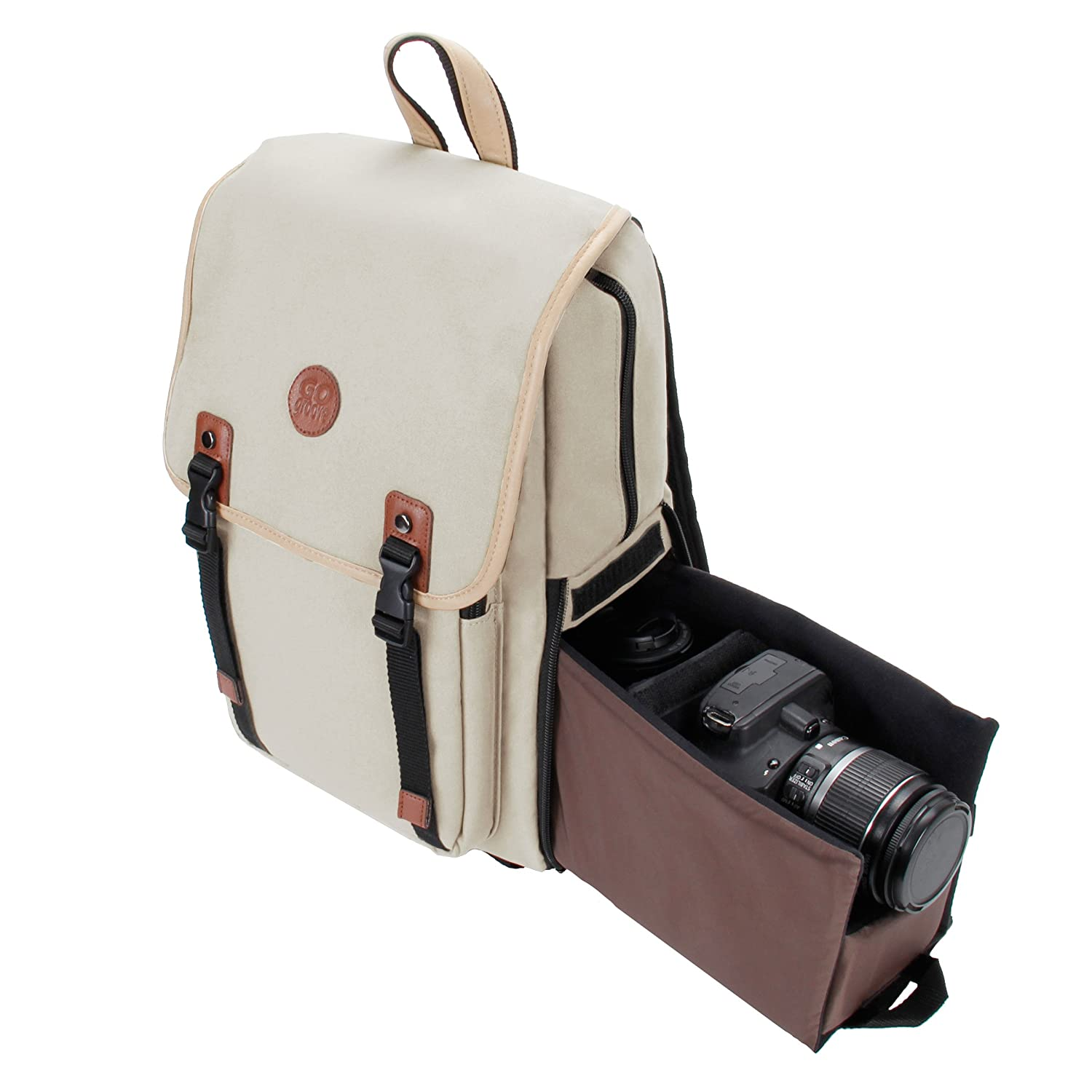 DSLR Camera Backpack by GOgroove (Mid-Volume Beige) with Interior Tablet Sleeve, Dual-Side Quick Camera Access, Phone Storage and Dual Accessory Areas for Canon, Nikon, Olympus and More