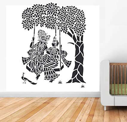 523e28f344 Buy Happy Walls Radha with Krishna Swinging in The Swing Wall Decal and Stickers  Online at Low Prices in India - Amazon.in
