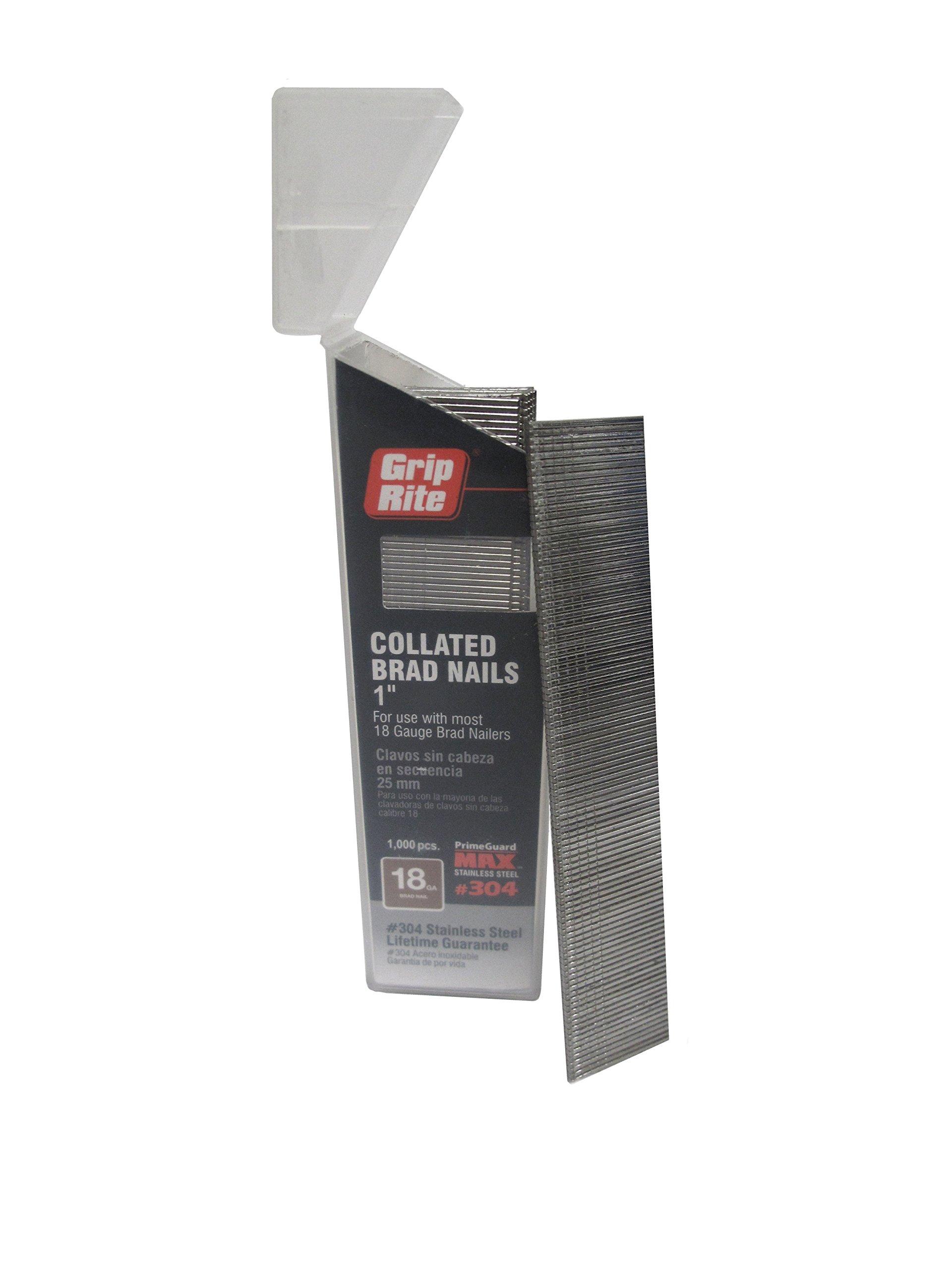 Grip Rite Prime Guard MAXB64875 18-Gauge 304-Stainless Steel Brad Nails in Belt-Clip Box (Pack of 1000), 1''