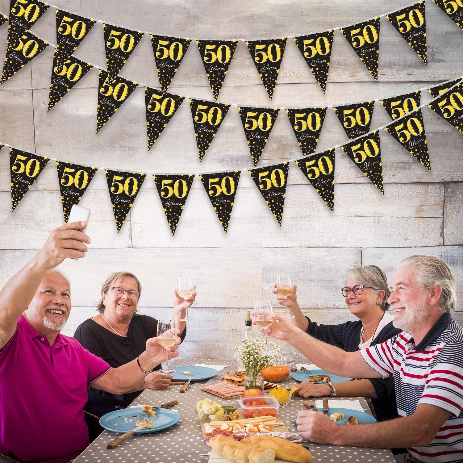 Black Golden 50 Years Banner Triangle Flag Party Accessory for 50th Birthday Wedding Anniversary Party Decoration Supplies 7.4 x 10.8 Inch 5 Pack 50th Birthday Party Decorations Pennant Banner