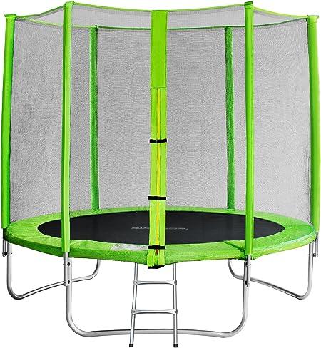 SixBros. SixJump 2,45 M Trampolín Cama elástica de jardín Verde - Escalera - Red de Seguridad - Lluvia Cobertura TG245/1611: Amazon.es: Juguetes y juegos