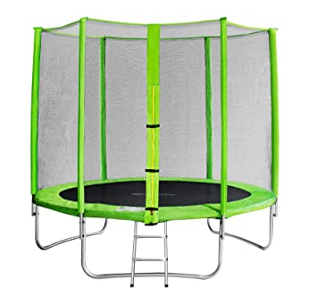 SixBros. SixJump 2,45 M Trampolín Cama elástica de jardín verde - Escalera - Red de seguridad - Lluvia cobertura TG245/1611