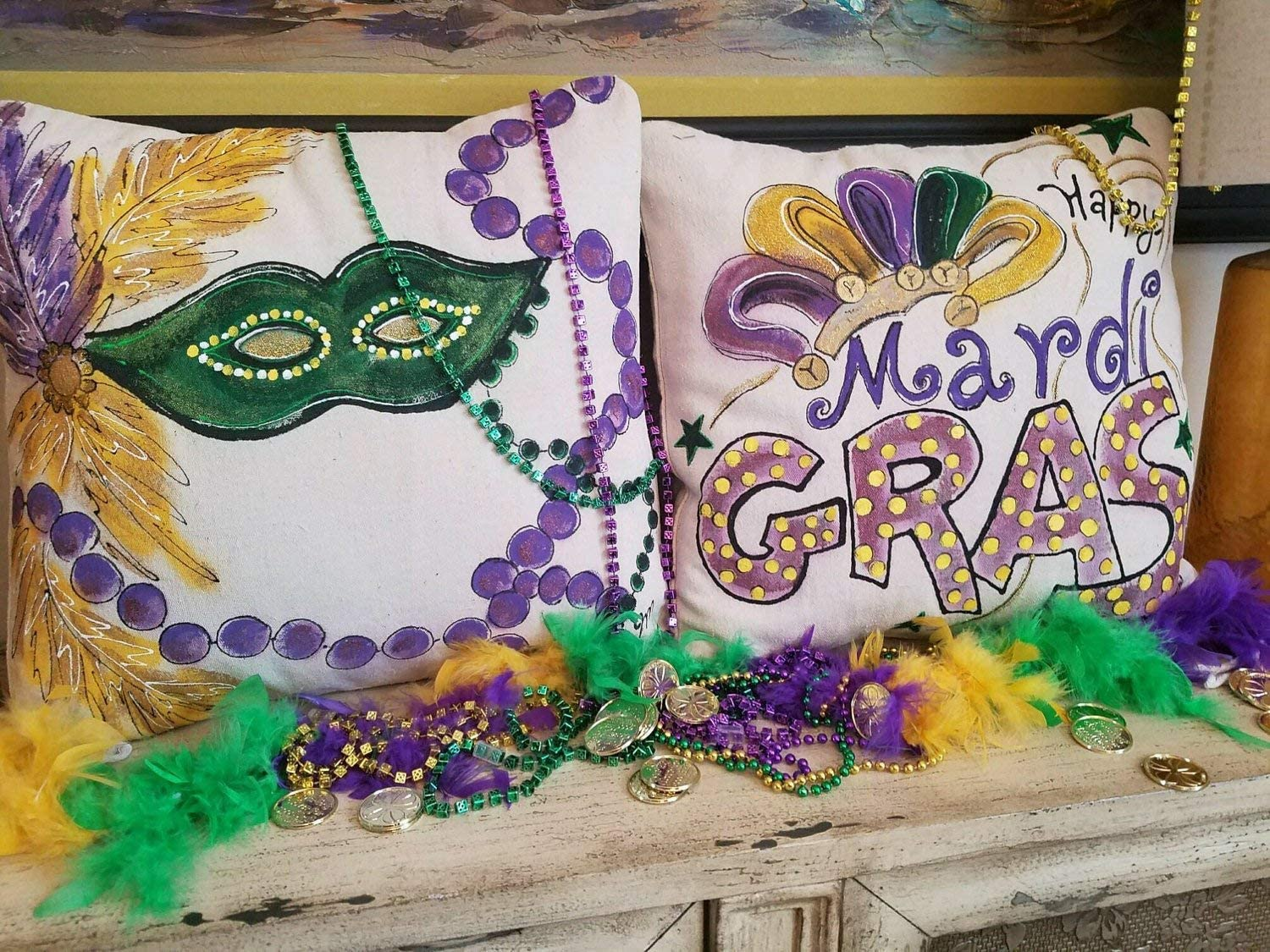 CELYCASY Mardi Gras Mask Decor Set Beads New Orleans French Quote Accent Pillows Indoor Outdoor Cushions Handpainted Pillow Cover