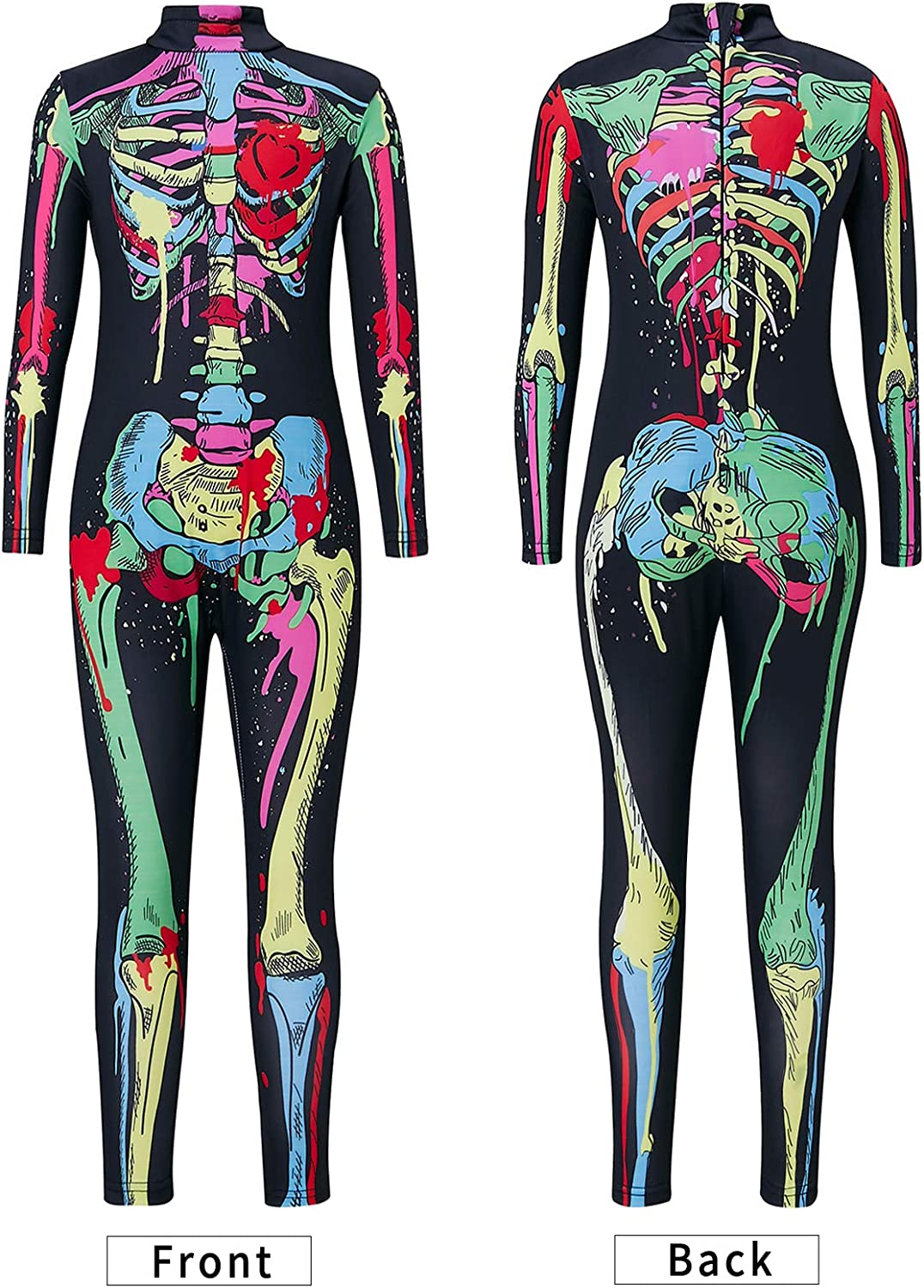 Funnycokid Halloween Costumes for Girls 3D Skeleton Zip Up Stretch Jumpsuit Catsuit 7-14 Years Old