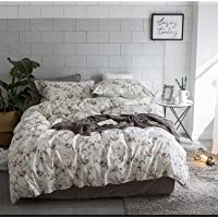 Eikei Cottage Country Style 3 Piece Duvet Cover Set Multicolored Roses Peonies Bouquet 100-percent Cotton Shabby Chic Reversible Floral Bedding (King, White)