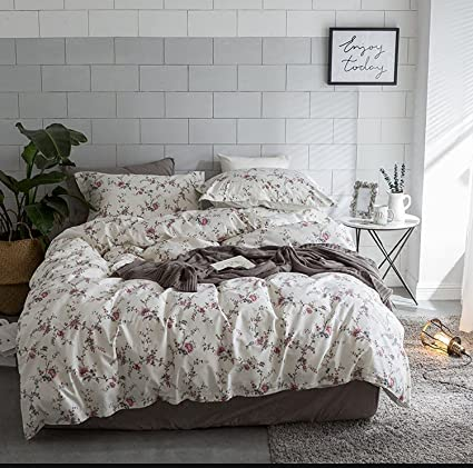 Marvelous Cottage Country Style 3 Piece Duvet Cover Set Multicolored Roses Peonies Bouquet 100 Percent Cotton Shabby Chic Reversible Floral Bedding King Interior Design Ideas Clesiryabchikinfo