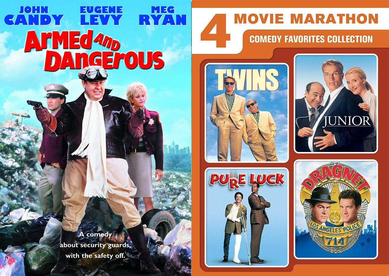 Amazon.com: 80's/ 90's Comedy Movie Marathon/ Dragnet / Junior / Pure Luck  + Armed and Dangerous DVD Bundle 5 Feature Collection: Tom Hanks, Arnold  Schwarzenegger, Martin Short, Dan Aykroyd: Movies & TV
