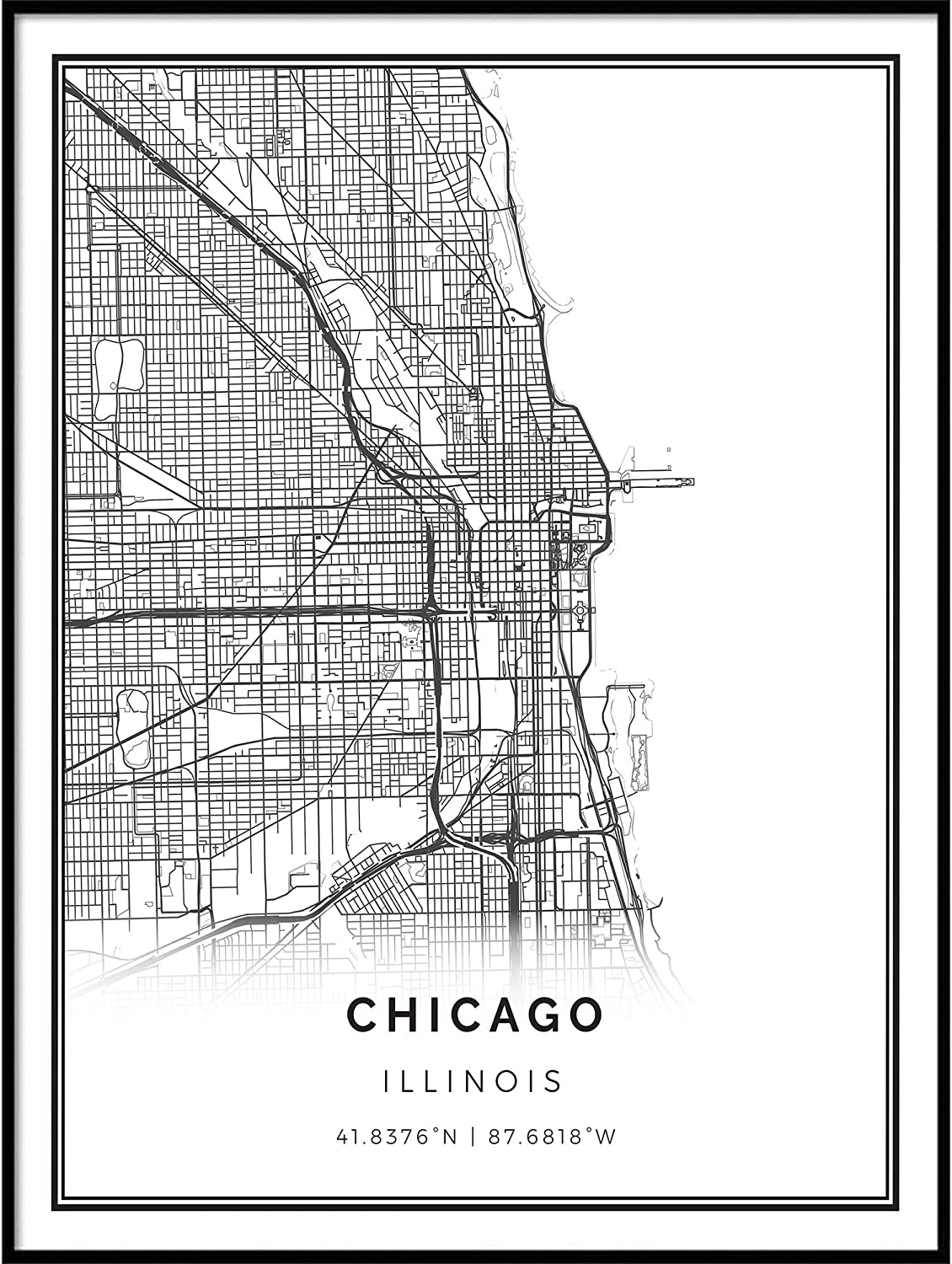 Squareious Chicago map Poster Print | Modern Black and White Wall Art | Scandinavian Home Decor | Illinois City Prints Artwork | Fine Art Posters 24x36