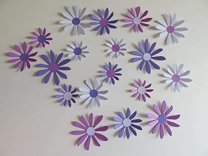 Lilac Purple Violet Daisies Set 18 3d Wall Decals 2 3 Daisy Paper Flowers Princess Bedroom Decor Spring Floral Wall Art