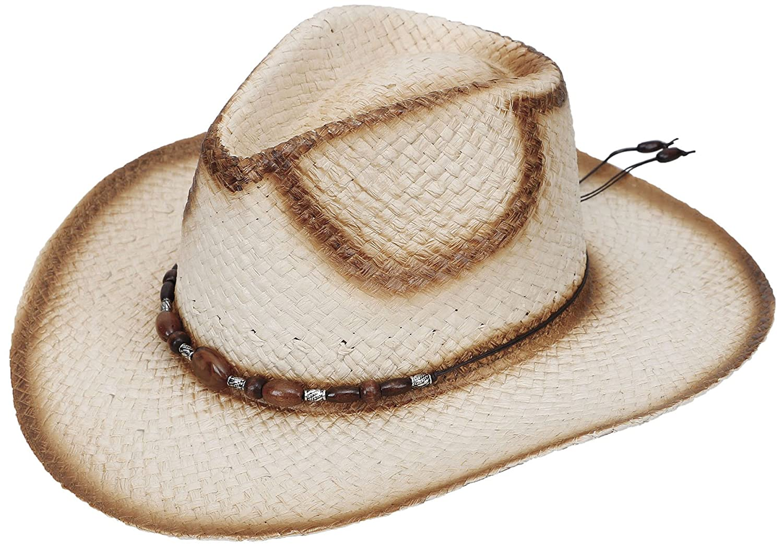 Halconia Mens Straw Weave Western Cowboy Hat Outdoor Wide Brim Hat w/Band Decor Beige w/Blue Bead