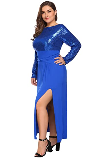03542a4388e Women s Plus Size Long Sleeve Sequined Split Evening Party Backless Maxi  Dress