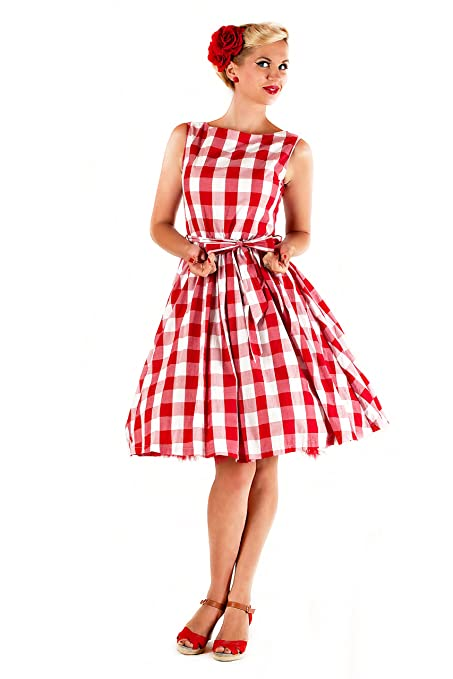 78fff1d2c07b Lindy Bop 'Audrey' Vintage 1950's Rockabilly Checked/Gingham Picnic Party  Swing Dress (L, Red & White) at Amazon Women's Clothing store: