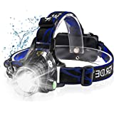 Headlamp, Pandawill LED Headlamp Rechargeable 2019 Version, Zoomable 3 Modes Super Bright 2000 Lumen LED Headlamp…