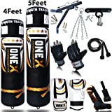 NEW 3-4-5 FT Filled Heavy Punch Bag Buyer Build Set,Chains,Bracket, Punching Gloves for Training Fitness Water proof Bag MMA