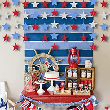 Hanging Streamers Decorations Coxeer Redsilver Blue Star Star Streamers For Diy Birthday Party Decorations Diy Room Decorations 5strands 394 In