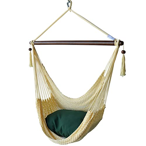 Caribbean Hammocks Chair with Footrest – 40 inch – Soft-Spun Polyester – Cream