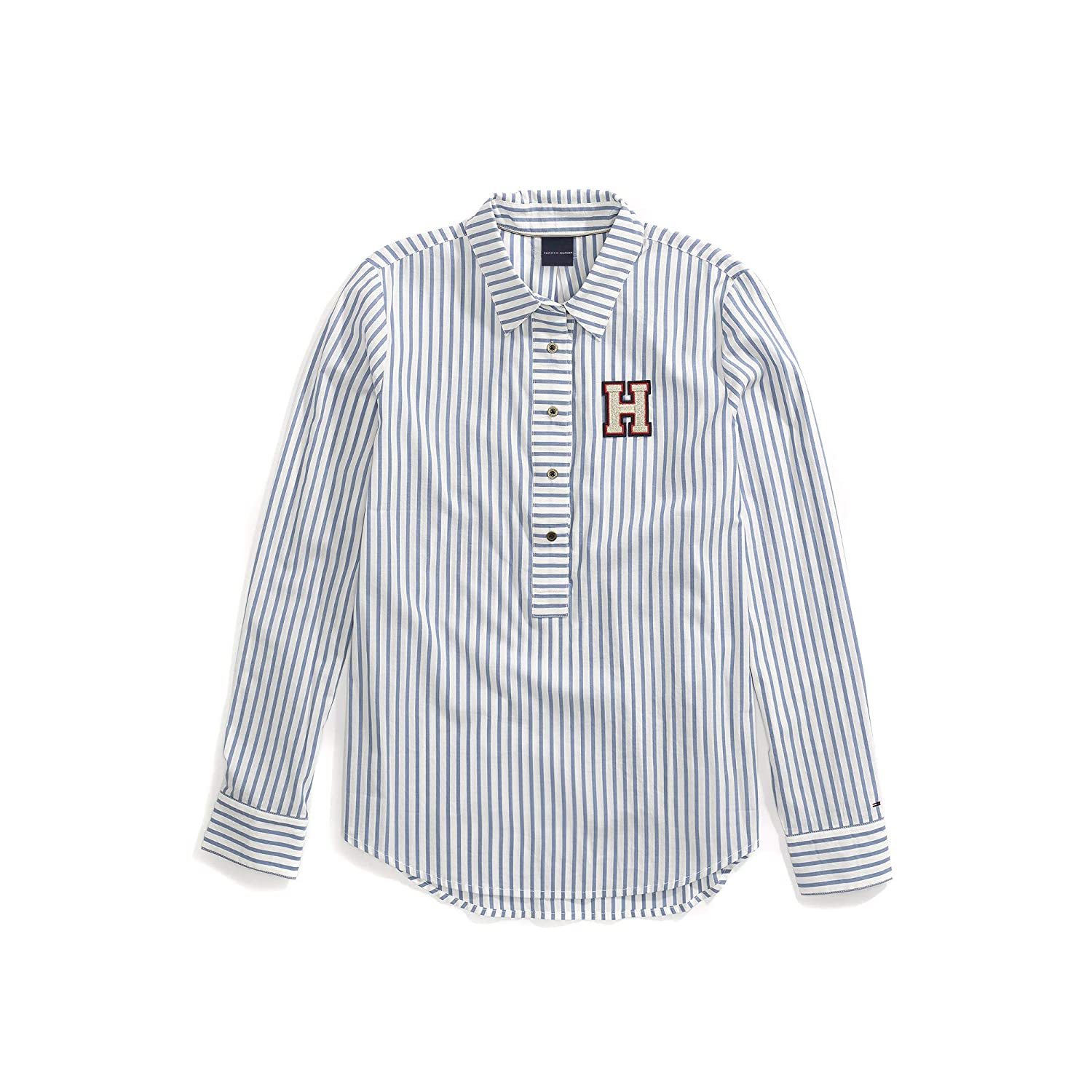 930459107 Tommy Hilfiger Women's Adaptive Stripe Shirt with Magnetic Buttons at  Amazon Women's Clothing store: