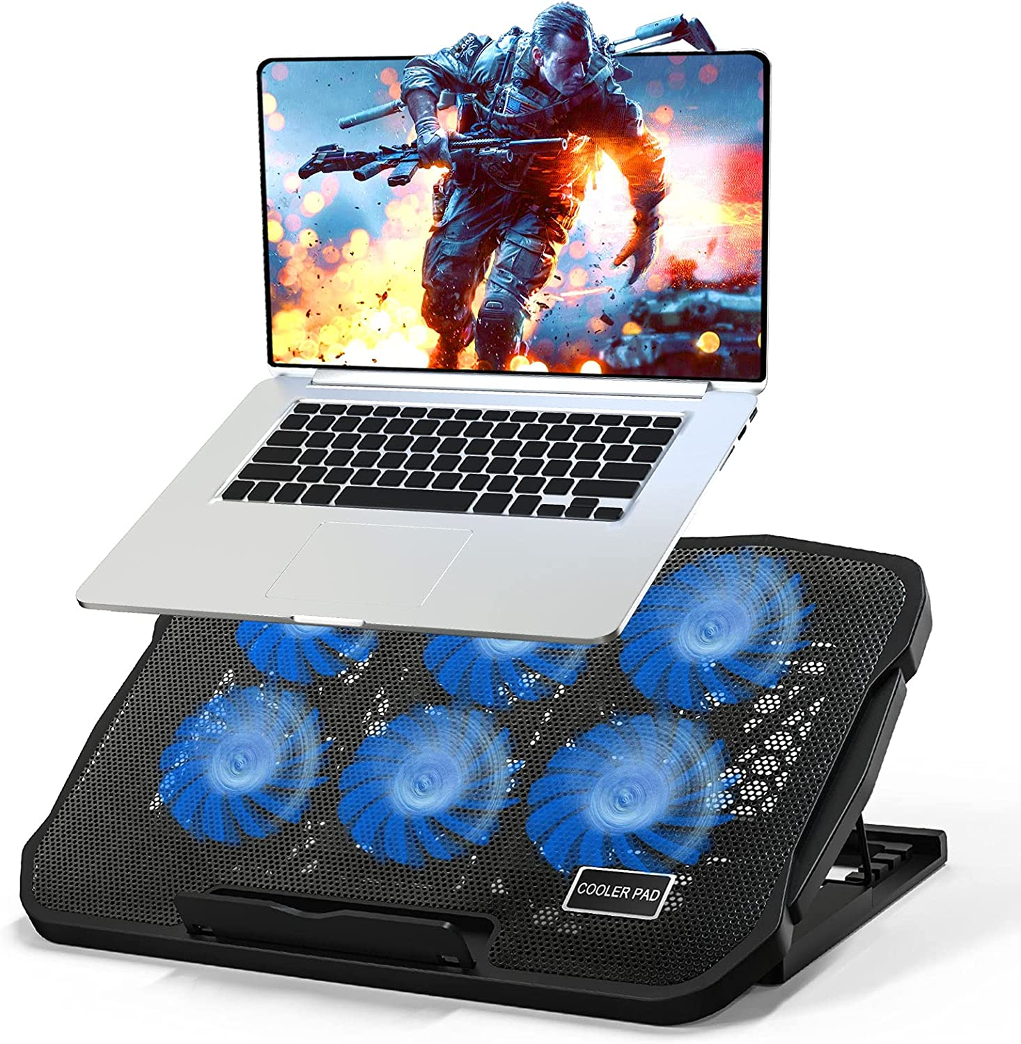 Laptop Cooling Pad, Tendak Gaming Laptop Cooler Stand with 6 Quiet Cooling Fans, 5 Stand Height Adjustable, Dual USB 2.0 Ports, Adjustable The Wind Speed for 11-17