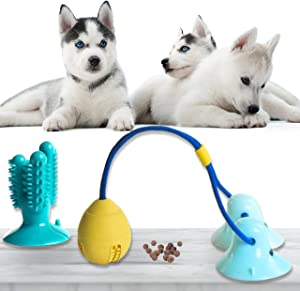 Dog Suction Cup Toy Set, Toys for Aggressive Chewers, Puppy Dog Training Treats Teething Rope with Ball for Boredom, Dog Puzzle Treat Food Dispensing Ball Toys for Small & Large Dogs