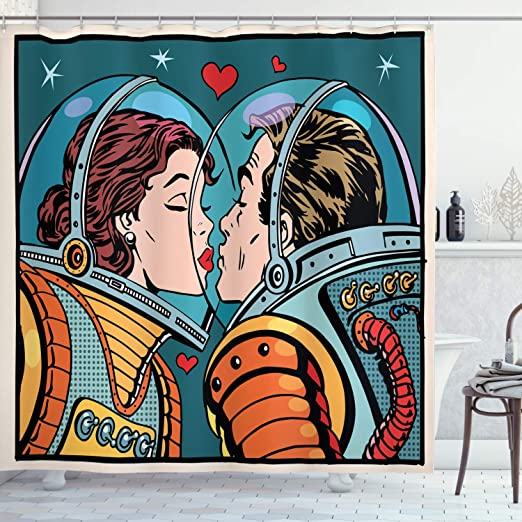 Colorful Shower Curtain Cartoon Kiss in Space Print for Bathroom