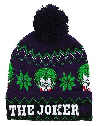 ddb503e9f52 Amazon.com  DC Comics Men s Joker Festive Pom Beanie  Clothing