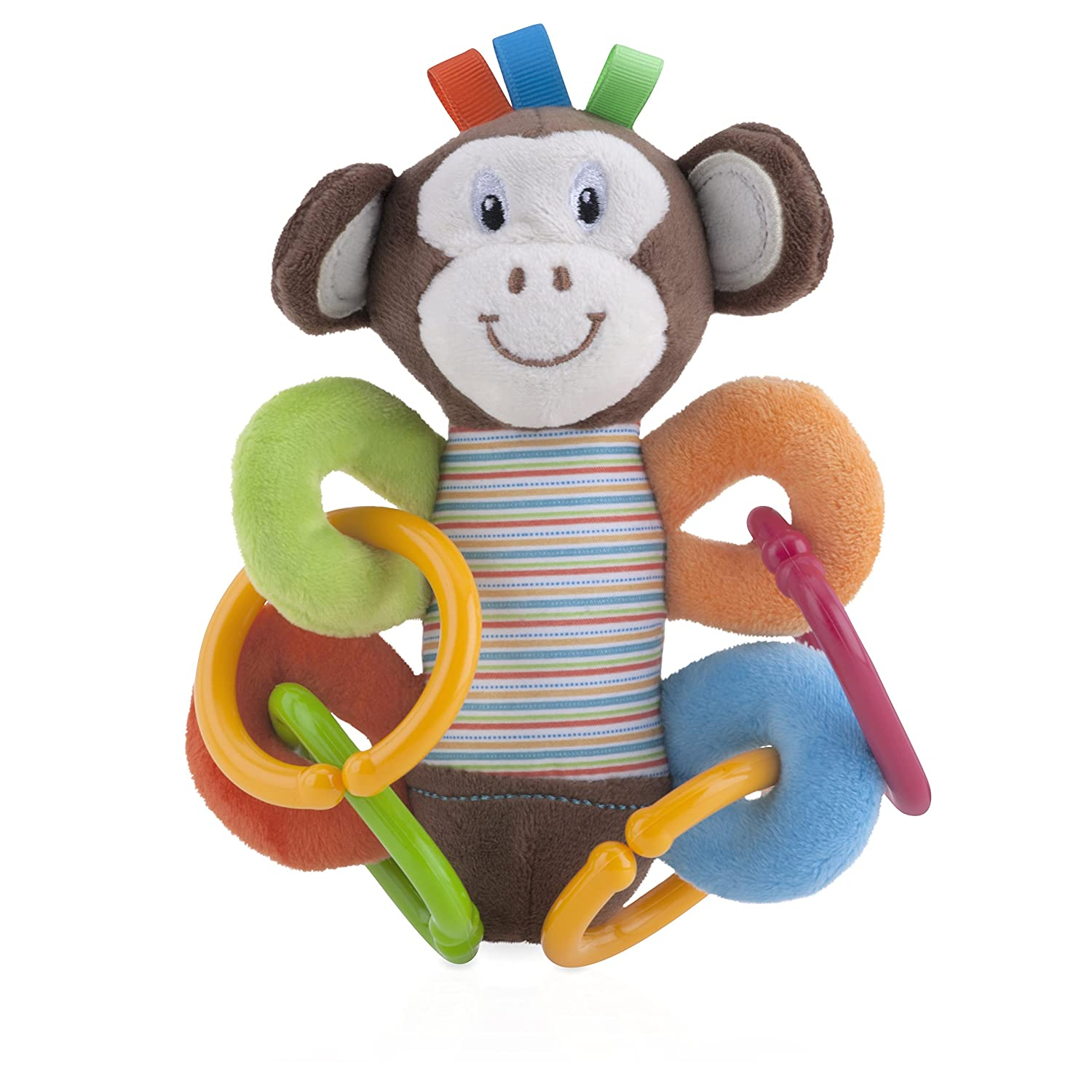 Monkey Nuby Plush Squeeze N Squeak Character with Squeaker and Rattle Rings