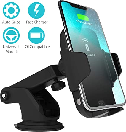 Ailia Wireless Car Charger Mount | Automatic Clamping | Qi 10W Fast Charging | Windshield Dashboard & Air Vent | Compatible with iPhone 8 X XR XS Max