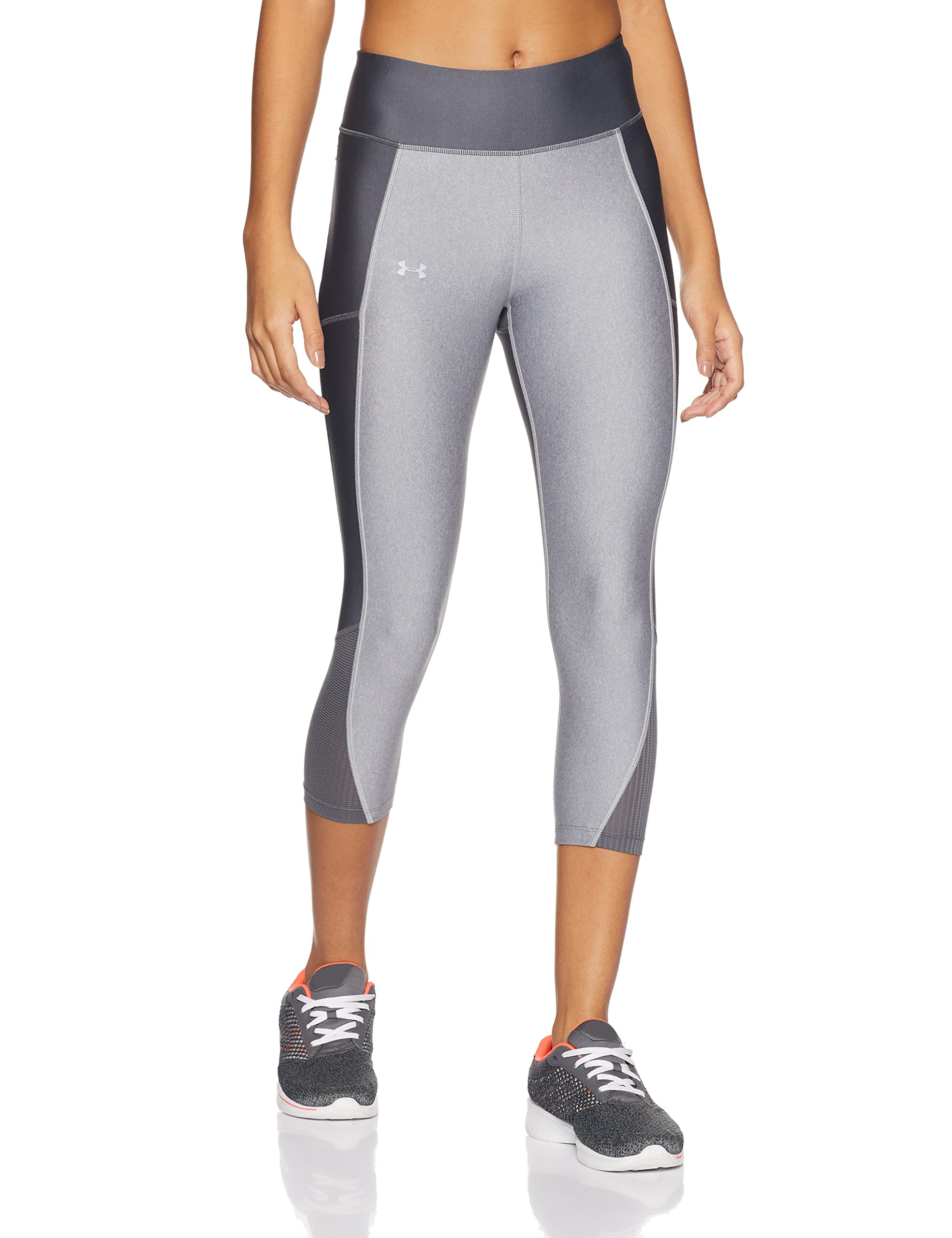 Under Armour Women's Fly-By Capri,True Gray Heather (025)/Reflective, X-Small