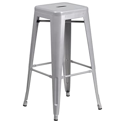 Flash Furniture 30'' High Backless Silver Metal Indoor-Outdoor Barstool with Square Seat: Kitchen & Dining
