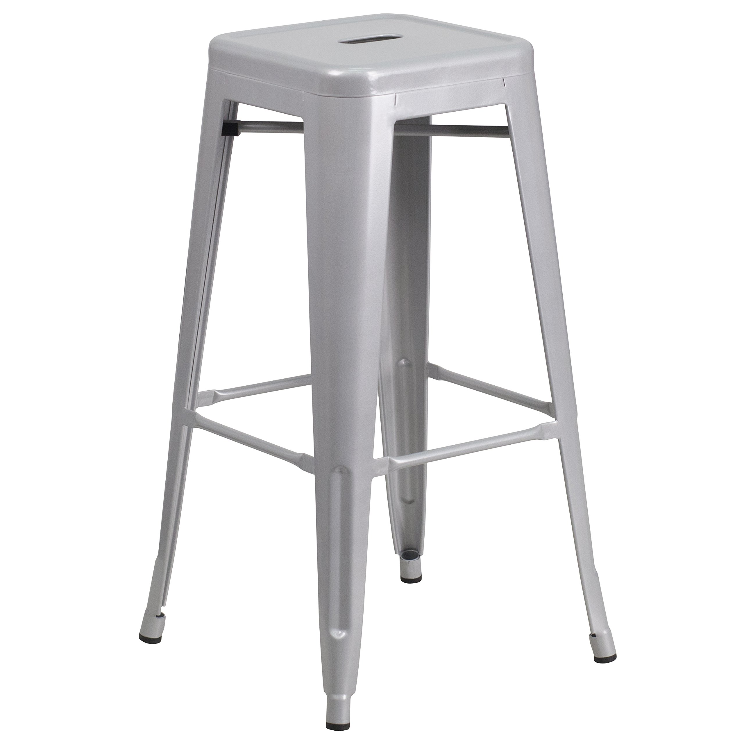 Flash Furniture 30'' High Backless Silver Metal Indoor-Outdoor Barstool with Square Seat by Flash Furniture