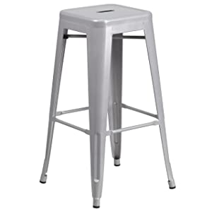 Flash Furniture 30'' High Backless Silver Metal Indoor-Outdoor Barstool with Square Seat