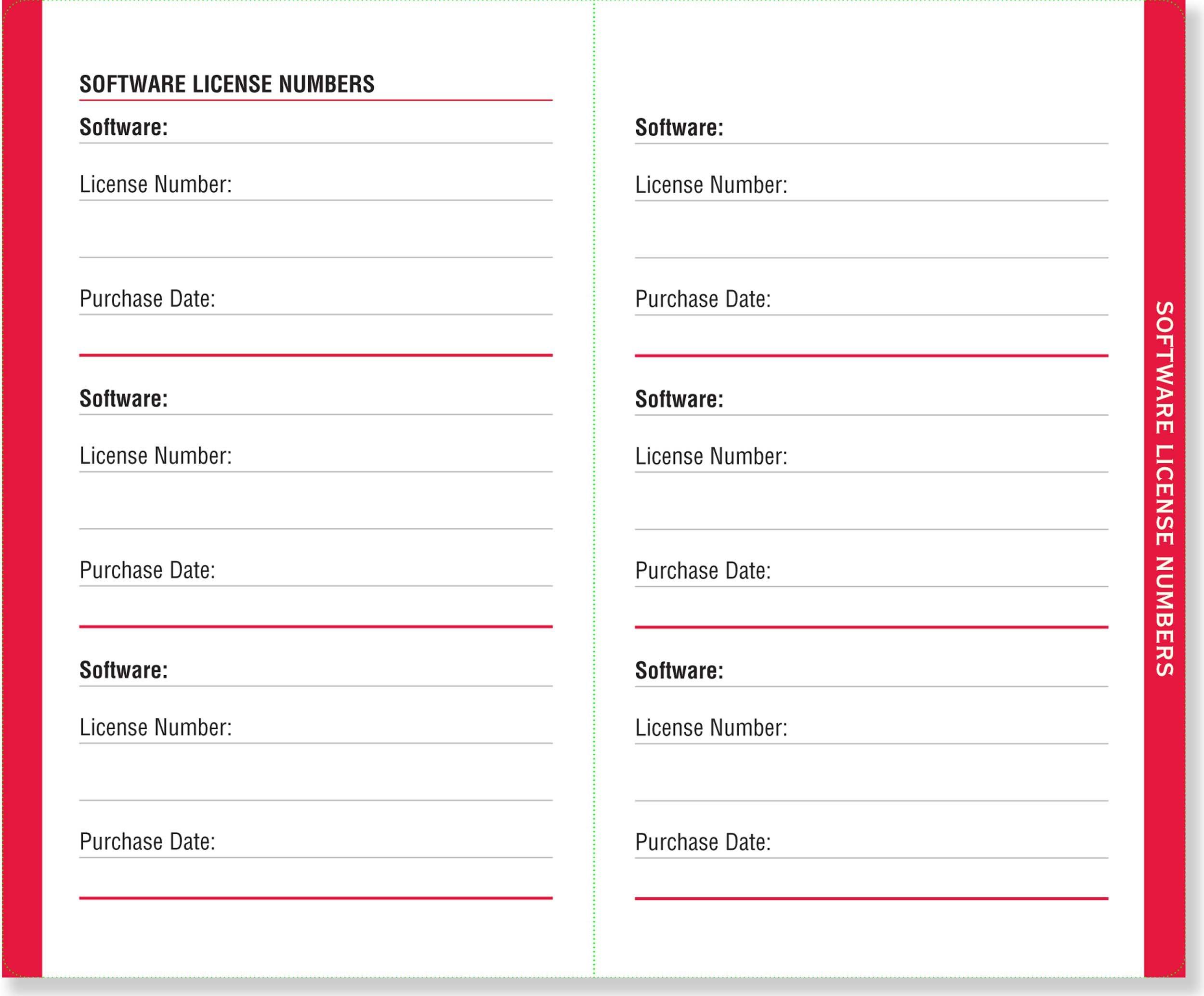 password log book template